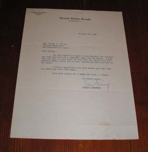 Letter to George E. Outland with United States Senate  letterhead, Gruening, Ernest