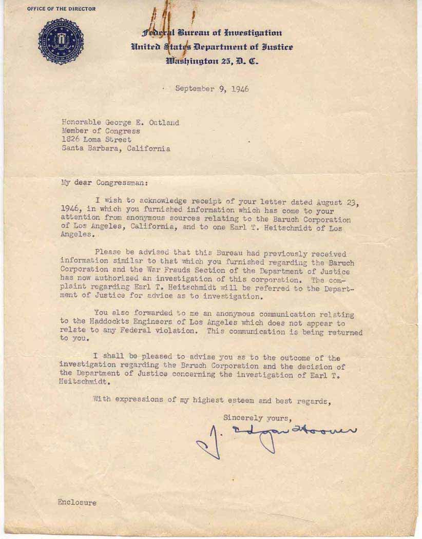Letter to George E. Outland with Federal Bureau of Investigation  letterhead, Hoover, J. Edgar