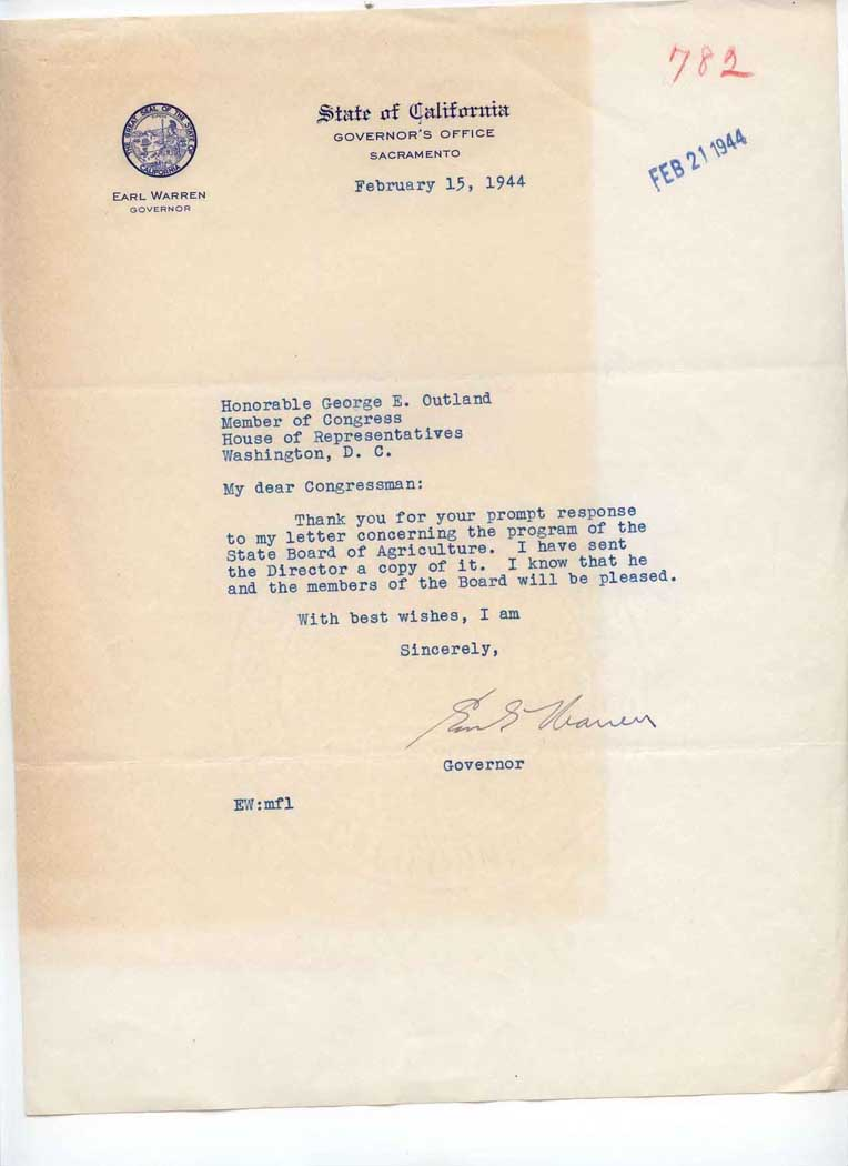 Letter to George E. Outland with State of California Governor's Office  letterhead, Warren, Earl