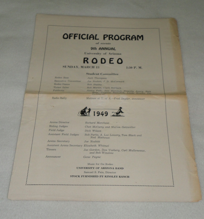 Official Program of events 9th Annual University of Arizona Rodeo March 13, 1949