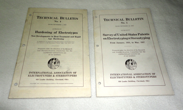 Technical Bulletins No. 4, Hardening of Electrotypes & No. 5, Survey of United States Patents on Electrotyping & Sterotyping from 1931-7
