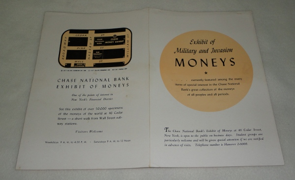 Exhibit of Nilitary and Invasion Moneys, Chase National Bank