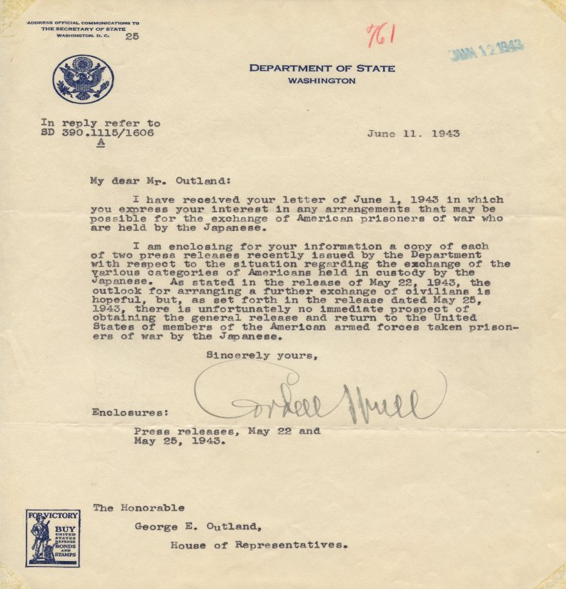 Cordell Hull letter to George E. Outland with a Department of State letterhead