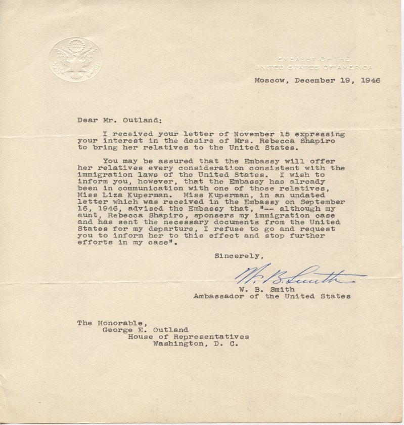 General Walter Bedell Smith letter to George E. Outland with an Embassy Of The United States Of America letterhead.