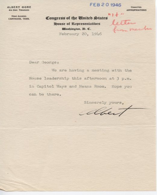 Albert Gore Sr. letter to George E. Outland with a Congress of the United States Senate House of Representatives letterhead