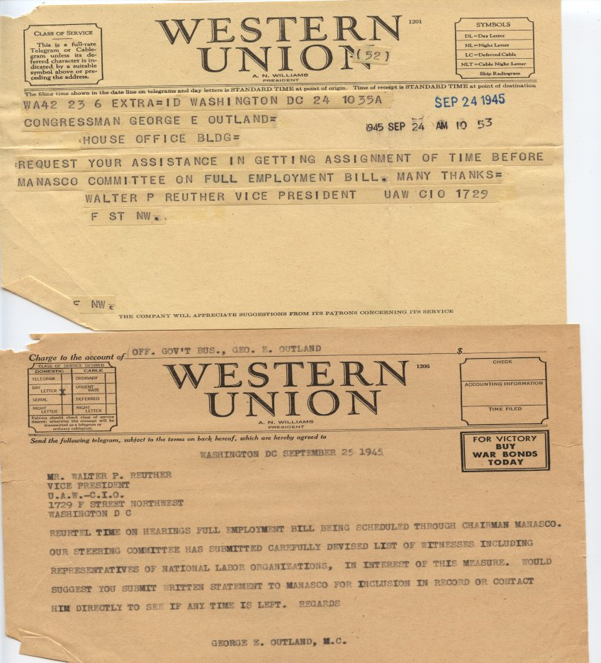Walther Reuther's telegram reply to Congressman George Outland