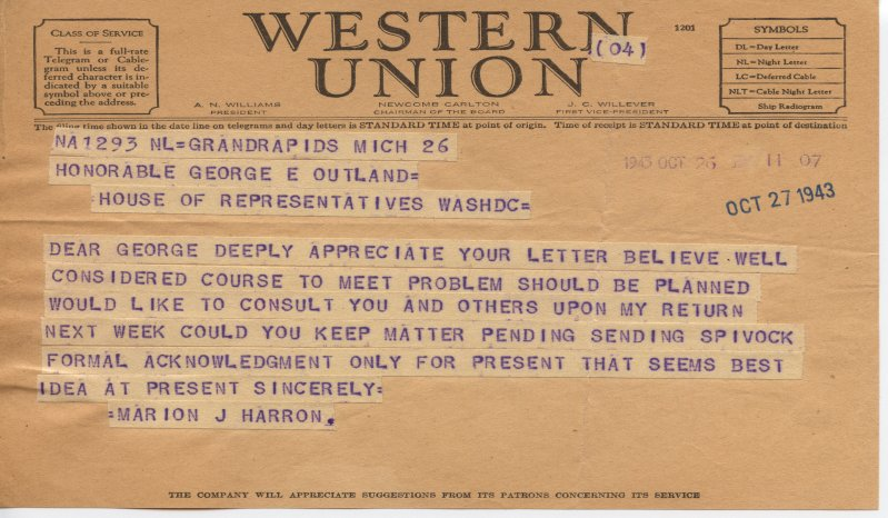 Marion Herron telegram to George Outland