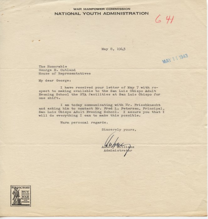 Aubrey Williams letter to George E. Outland on War Manpower Commission National Youth Administration letterhead