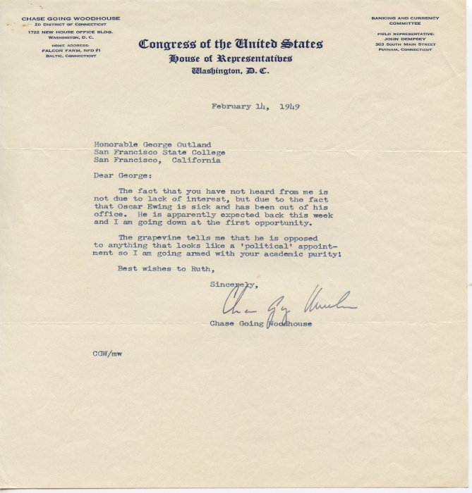 Chase Going Woodhouse letter to George E. Outland On a Congress of the United States House of Representatives letterhead
