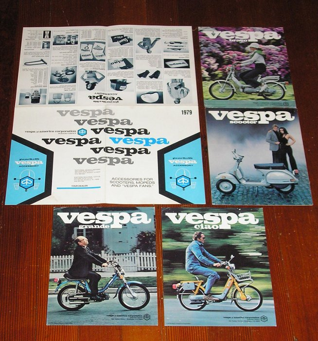 1979 Vespa Scooter Literature, five pieces