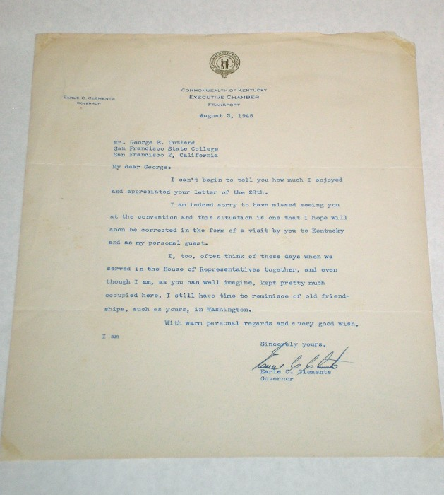 Letter to George E. Outland with a Commonwealth of Kentucky Executive Chamber letterhead, Clements, Earle C., Governor