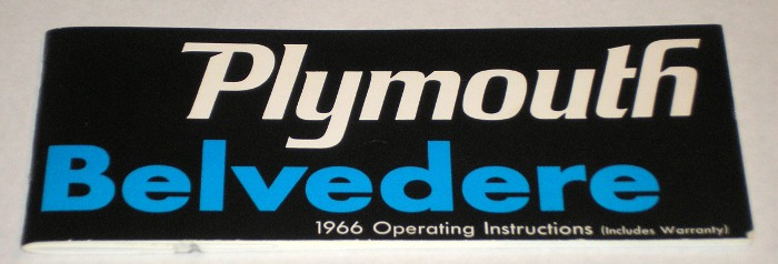 Plymouth Belvedere 1966 Operating Instructions, Chrysler Motors