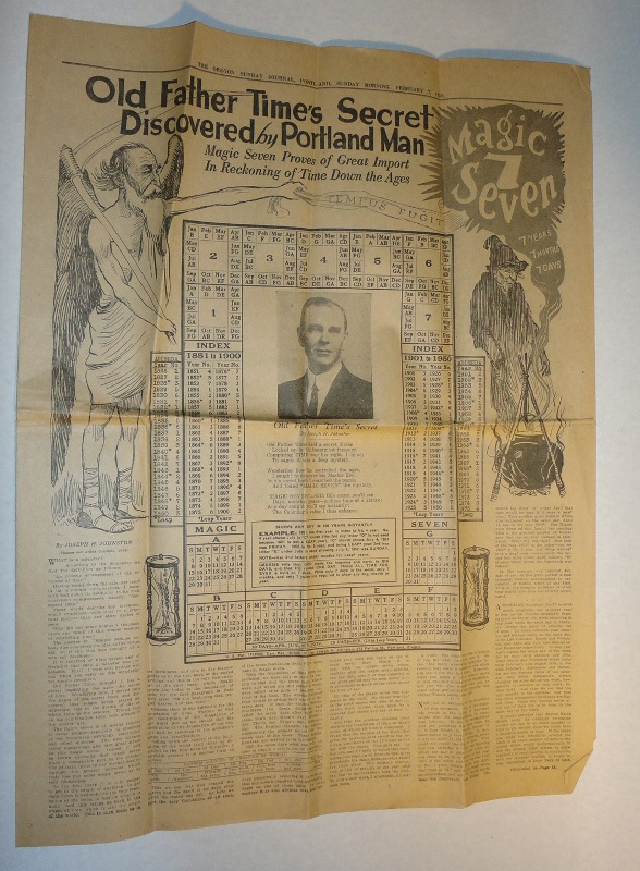 Old Father Time's Secret Discovered By Portland Man Joseph H. Johnston's Patented Date-Finder and Calendar