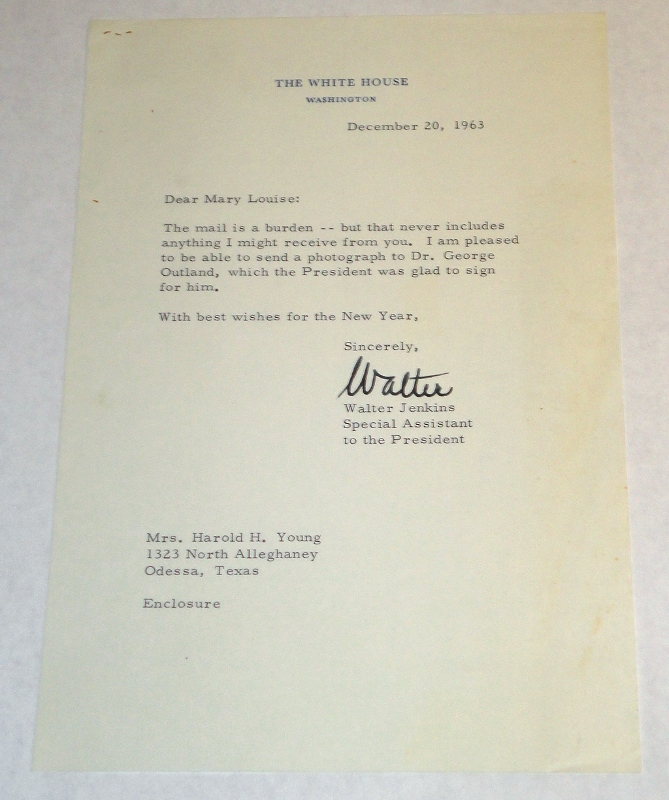 A letter from The White House that accompanied a picture sent to George Outland, Jenkins, Walter