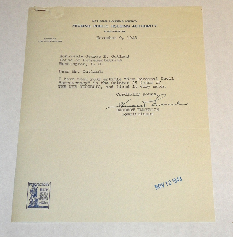 Letter to Congressman George E. Outland On a Federal Housing Authority letterhead, Emmerich, Herbert, Commissioner
