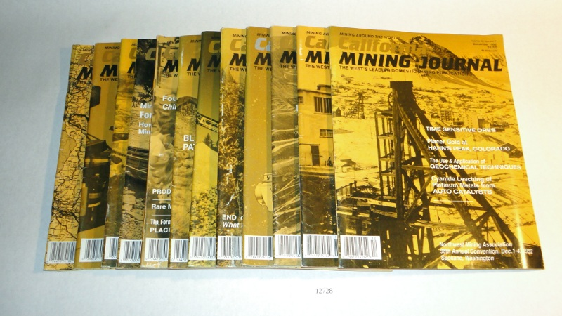 California Mining Journal 1992 complete, 12 issues, Harn, Kenneth L., editor