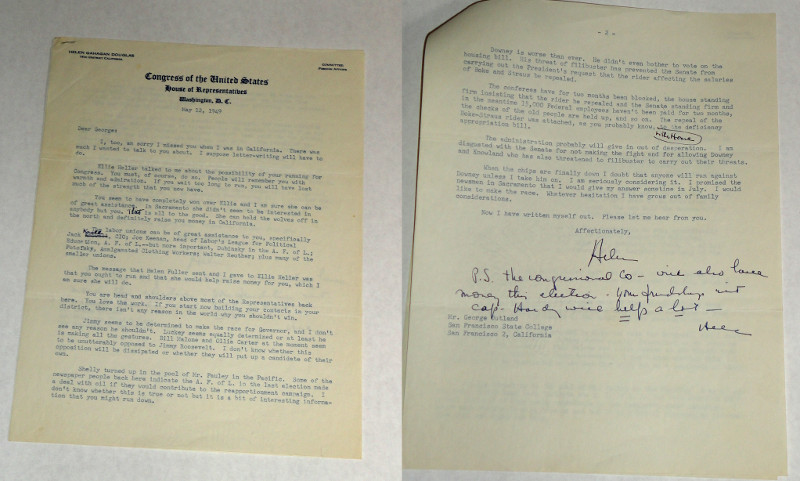 Douglas, Helen Gahagan, Signed two page letter to George Outland