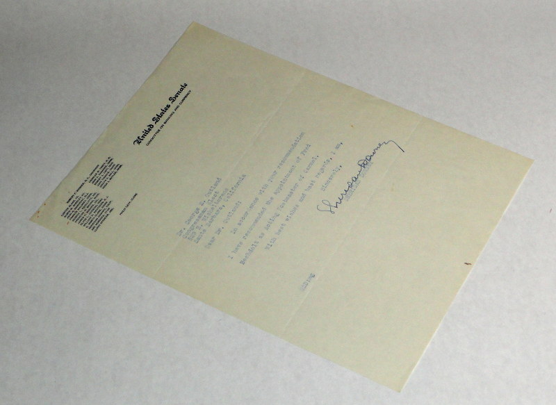 Downey, Sheridan, Autographed letter on United States Senate letterhead to George Outland