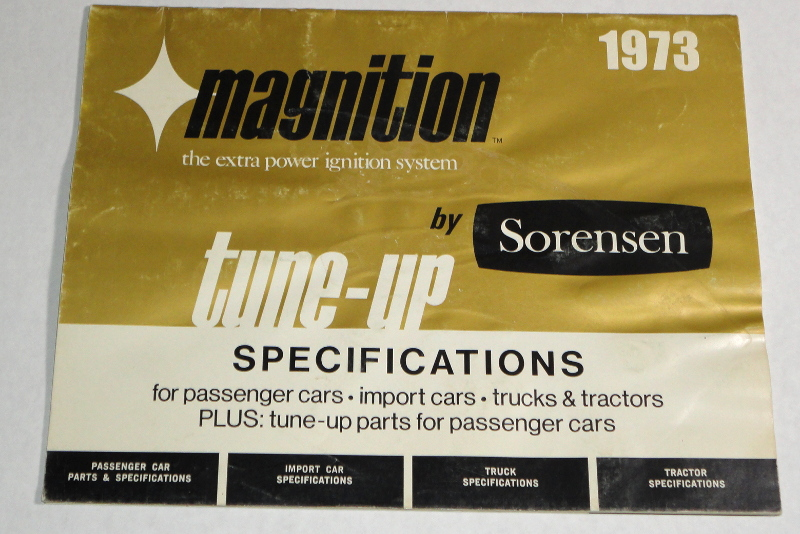 1973 Magnition Tune-Up Specifications, P. Sorensen Manufacturing Co., Inc.