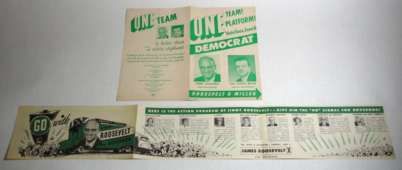 Go Jimmy Roosevelt For Governor Campaign Literature
